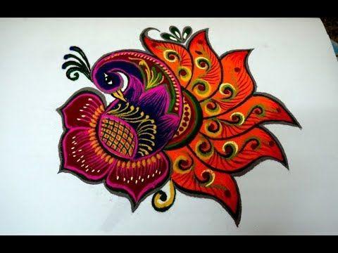 Beautiful Rangoli Design For Diwali || unique flower kolam design || line muggulu - YouTube
