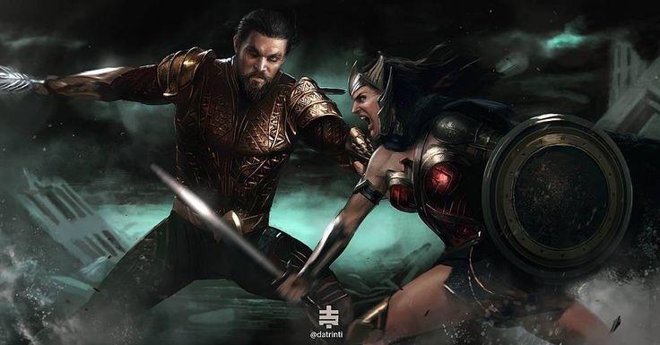 Aquaman vs Wonder Woman by Datrinti