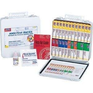 ANSI-Compliant First Aid Kit with 24 Units by First Aid. Save 48 Off!. $54.34. Includes bandages, compresses, triangular/sling bandage, gauze pads, antiseptic towelettes, first aid tape, exam gloves, burn relief, cold compress, Povidone iodine wipes, sterile eye pads, eye wash and tape, compress bandages, fingertip and knuckle bandages and CPR faceshield. Full-color reorder schematic. Metal case is wall mountable (hardware not included). System Capacity: 24 Person System; Number of Piece...