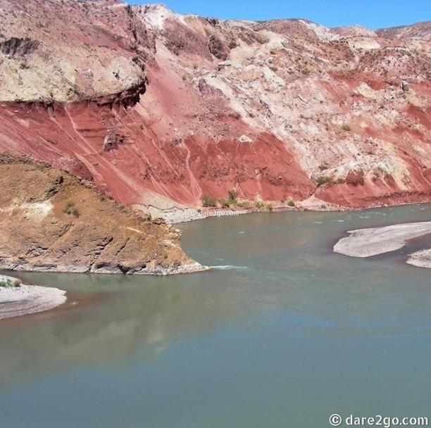 Ruta 40 - Rio Grande, Mendoza, Argentina — by dare2go. Cliffs at the Rio Grande, alongside the Ruta 40 ('ripio' or gravel along here), in the Mendoza province of Argentina....