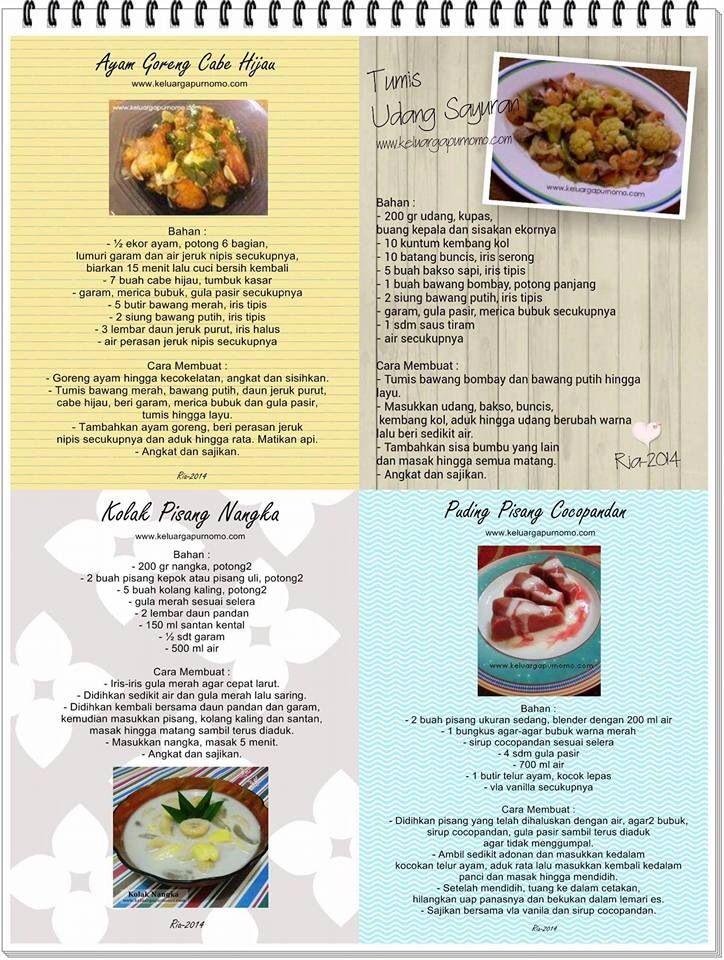 Ayam goreng cabai hijau, tumis udang sayuran, Kolak Pisang nangka, pudding Pisang coco pandan