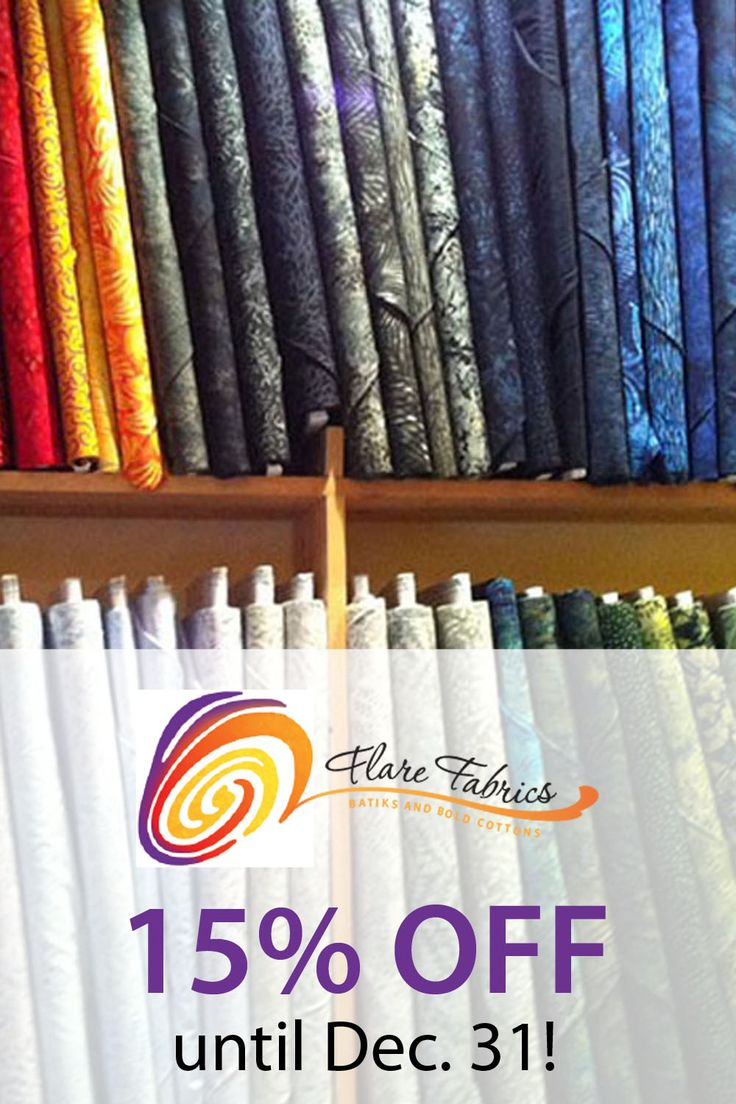 "Discount code ""THREAD15"" saves you 15% at @flarefabrics until the end of December 2015!"
