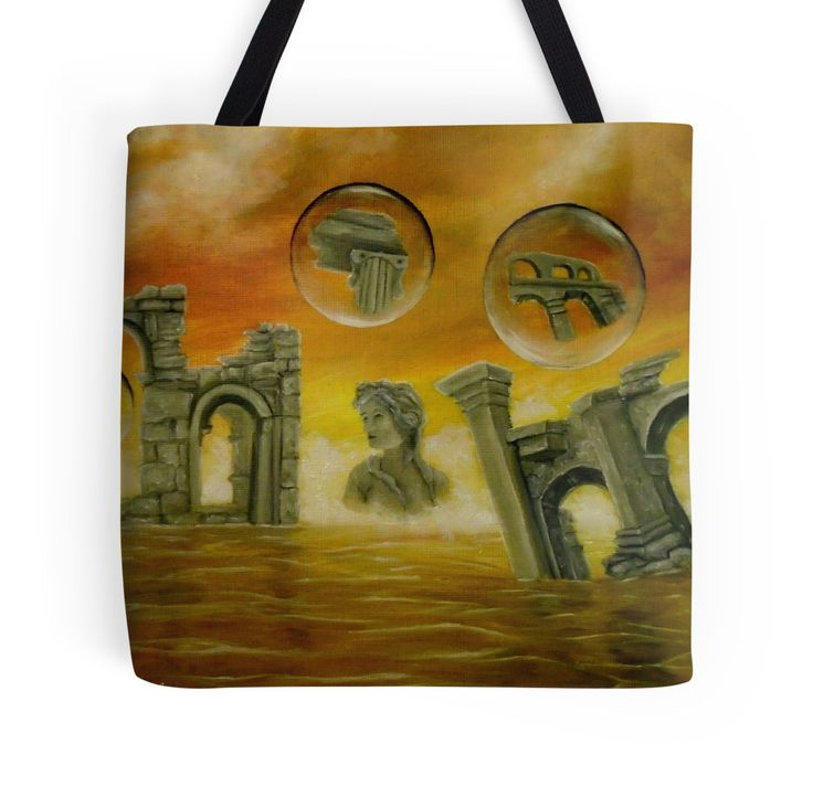 Tote Bag,   ancient,ruins,temples,sky,fantasy,sea,orange,golden,colorful,impressive,cool,beautiful,unique,trendy,artistic,unusual,accessories,for sale,design,items,products,gifts,presents,ideas,redbubble