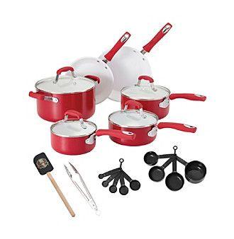 Guy Fieri 21-pc. Red Ceramic Cookware Set