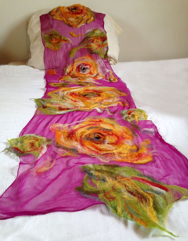 nuno felted scarf -Colour Me Perfect #weddings, #christmasgift, #giftforher, #women, #scarf, #accessory, #clothing, #fashion, #christmas, #gift, #wrap, #shawl, #felting, #shopping, #celebration, #romantic, #QaraQul, #feltedscarf, #chiffonsilk, #merinowool, #feltscarf