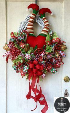 Christmas grapevine wreath elf wreath with legs deco mesh wreath elf butt booty wreath by MrsChristmasWorkshop on Etsy https://www.etsy.com/listing/252692364/christmas-grapevine-wreath-elf-wreath