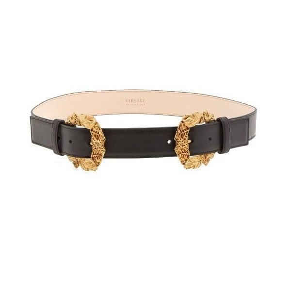 a10a279af8 Versace Tribute Baroque double-buckle leather belt (£600) ❤ liked ...