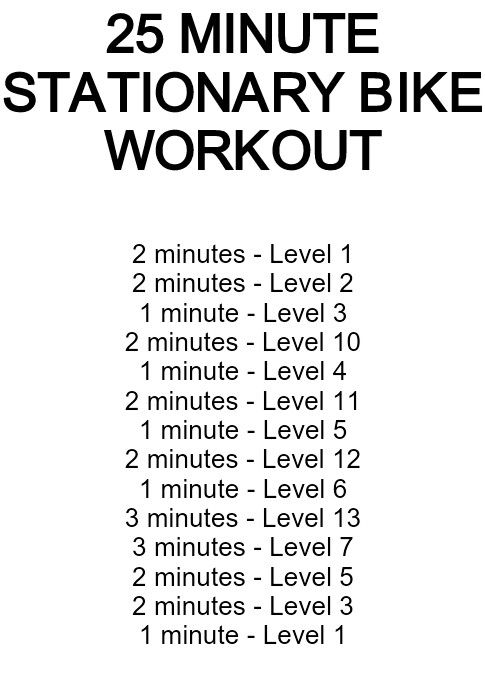 25-minute stationary bike workout [TOTAL MILEAGE: 5.40 mi]