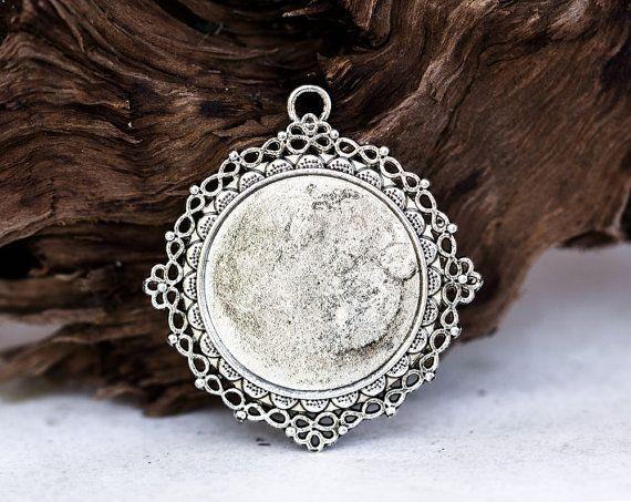 1345_Round vintage pendant, Cabochon, Vintage style, Antique silver pendant, Pendant round cabochon, Pendant setting cameo, 50 mm_3 pcs.