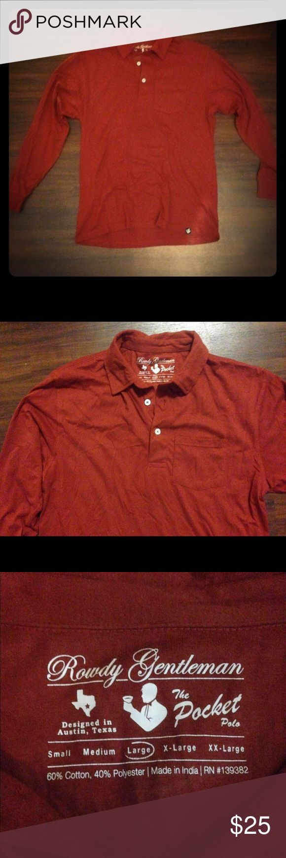 Pocket Polo Long Sleeve - Rowdy Gentleman Long sleeve red pocket polo from Rowdy Gentleman. Really soft material (60% cotton 40% polyester). Worn twice, great condition. Size L. Rowdy Gentleman Shirts Polos