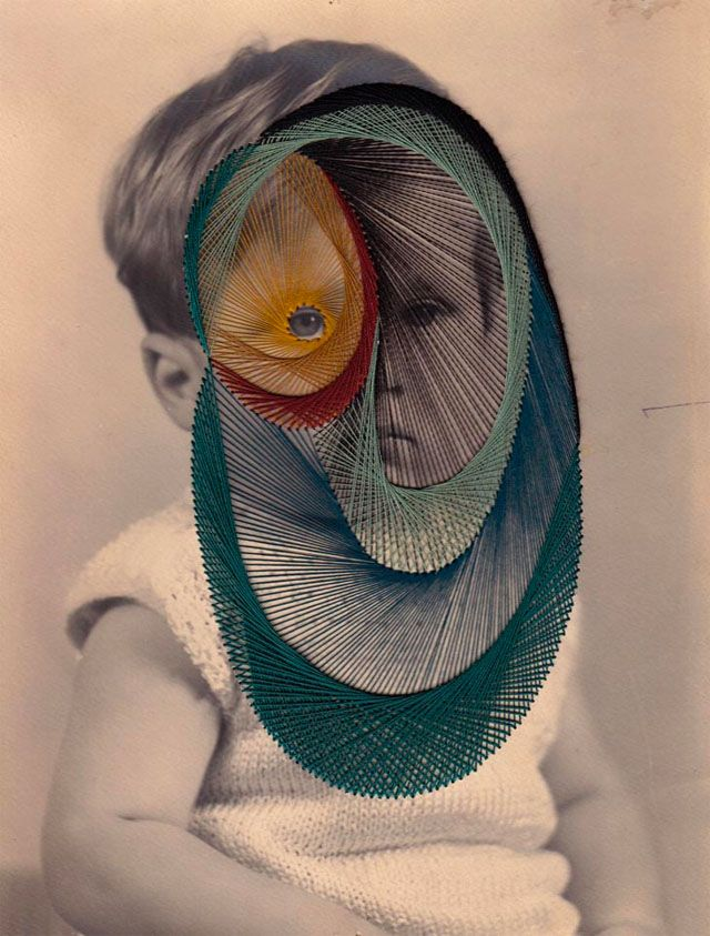 Known for his 'Hair Sculptures' Maurizio Anzeri is also a talented sewer – making colorful (and sometime a little creepy) embroidery on vintage photographs, the result is beautiful !