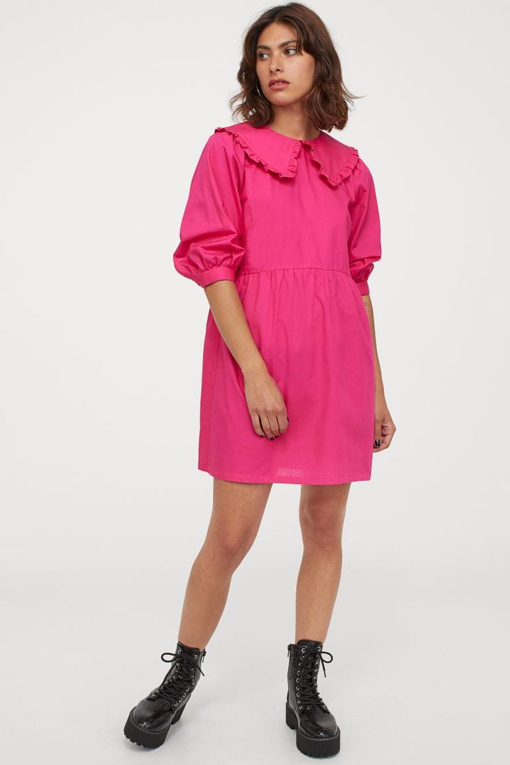 Collared Poplin Dress   Cerise   Ladies   H&M US   Vestito hm ...