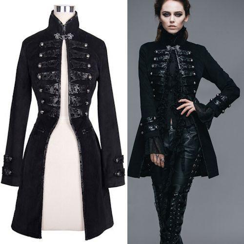 awesome nice Men Women Black Alternative Steampunk Punk Tail Trench Coats Clothing SKU-1...
