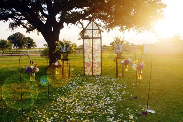 church glass outside at dusk wedding altar tabernacle