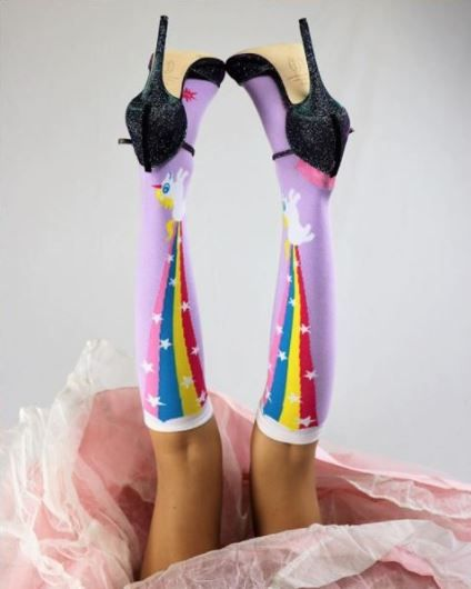 1d181ded7c8 Rainbow Blast Women s Knee Highs The perfect unicorn sock to wear for work  or fun. pc   evolutionvtg