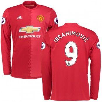 Premier League Fussball Trikots Manchester United 2016-17 Zlatan Ibrahimovic 9 Heimtrikot Langarm