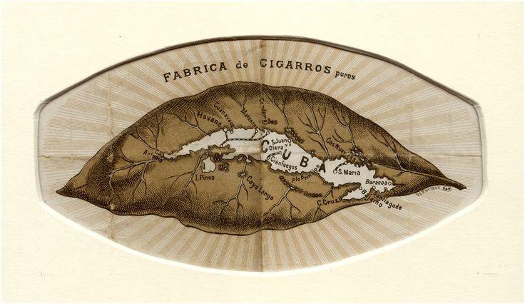 Binnenblad van sigarendoos van Cubaanse sigaren - 1900