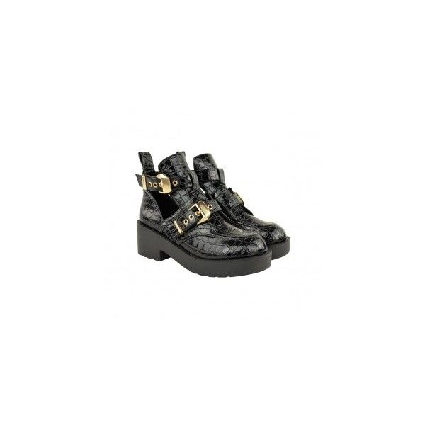 Ladies Black Faux Leather Cut Out Flatform Ankle Boots Gold Buckle... ❤ liked on Polyvore featuring shoes, boots, ankle booties, black boots, black bootie, black ankle boots, short boots and cutout booties