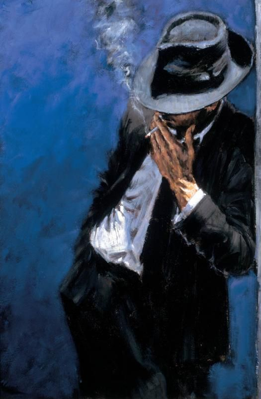 Man in black suit - Medium:  ACRYLIC ON CANVAS  Year:  2002 - Fabian Perez