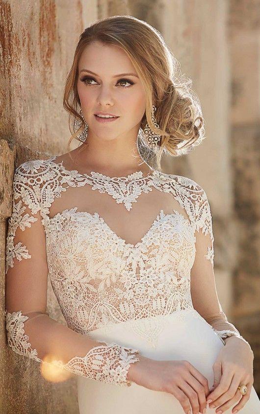 690 Lace Illusion Sheath Wedding Dress by Martina Liana