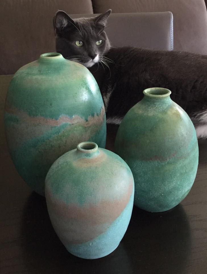 combine Laguna glazes with Amaco. The two pieces in the back are Amaco Light Sepia over Laguna Old Copper. Small one in front is Chun Plum over Old Copper.