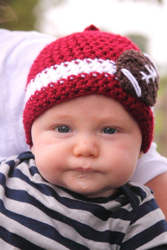 Crochet Alabama Football Beanie @kindra Gilchrist: Alabama Football Baby, Football Beanie, Color, Crochet Football Hats, Rolls Tide, Football Team, Crochet Alabama, Crochet Beanie,  Poke Bonnets
