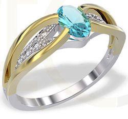 Pierścionek z białego i żółtego złota z topazem i diamentami / Ring made from white and yellow gold with a topaz and diamonds / 1 552 PLN / #ring #gold #zloto #pierscionek #bizuteria #jewelry #jewellery #diamonds #ring