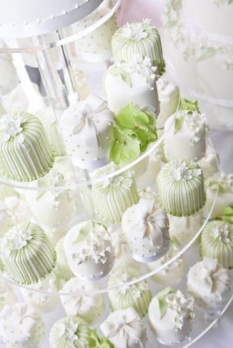 Miniature Wedding Cakes with Sugar Flowers. I saw some thing like this before but couldn't find it again. They had a 2 tear cake on top so you could cut the cake and have the top and such, but then they did cupcakes below for the guests! I think its a cute idea and I bet it would be way cheaper!