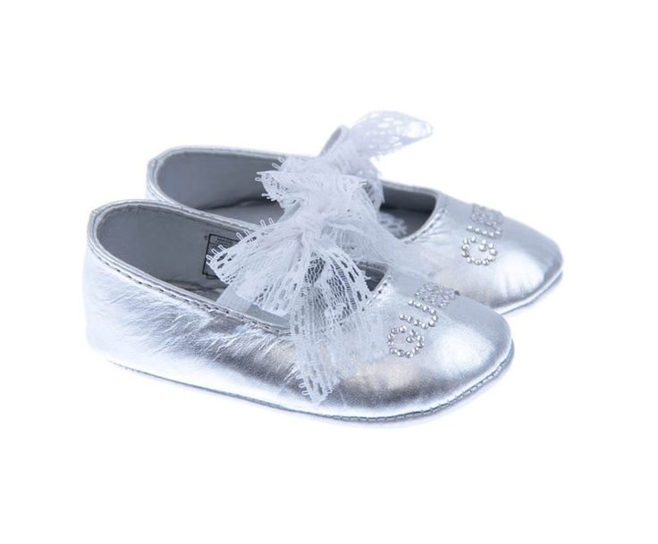 Guess Baby Girls Metallic Silver & Lace Pre Walkers With Diamante Branding