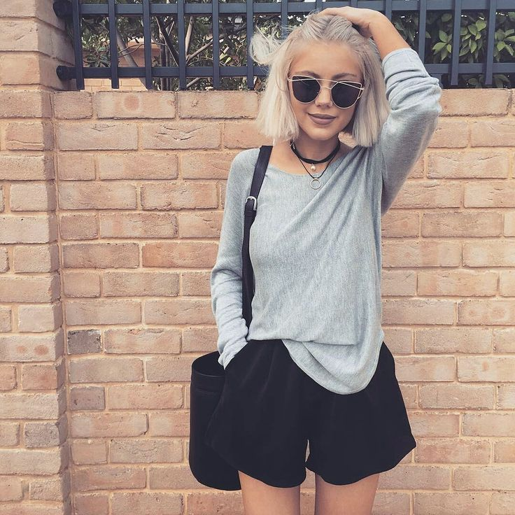 Amazing Laura Jade Stone looking gorgeous in our 'Virpi A-line Shorts' and 'Anna Sweater in Grey' | Scandinavian Style | #laurajadestone