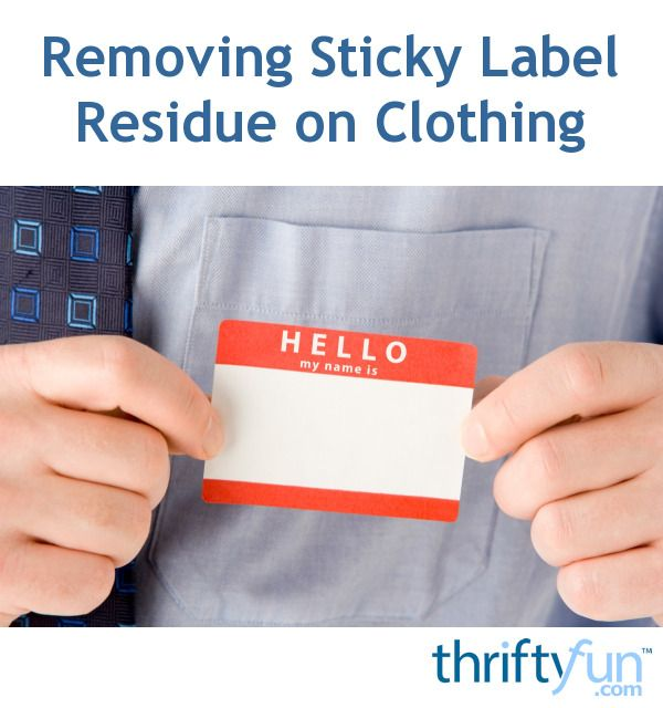 This is a guide about removing sticky label residue on clothing. A sticker on new or old clothes can leave a residue that can be a challenge to remove.