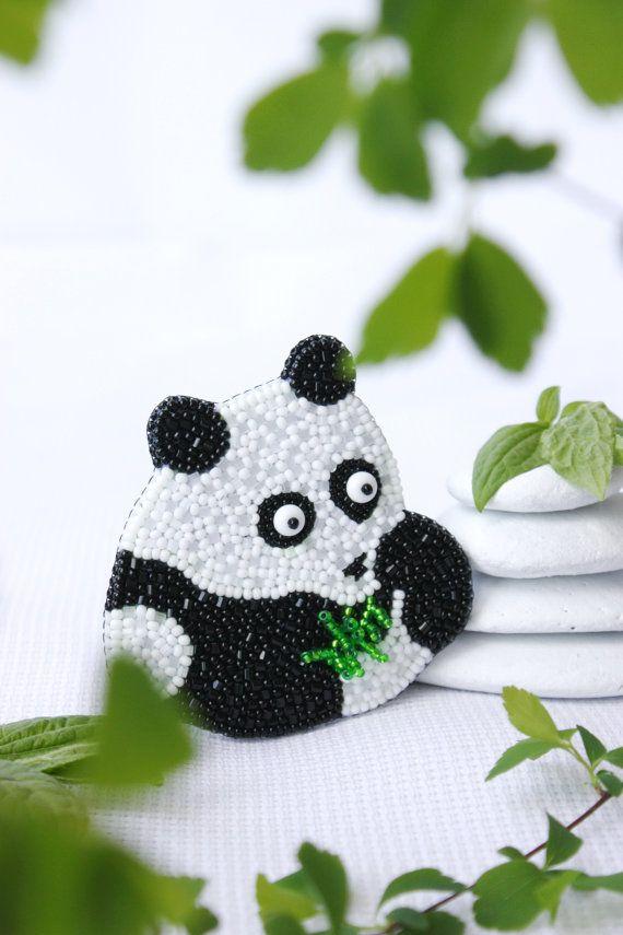 Brooch handmade beaded Beadwork Embroidered brooch White black panda Bear Brooch…