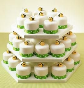 Bumble Bee Party Mini Cakes via A to Z Celebrations