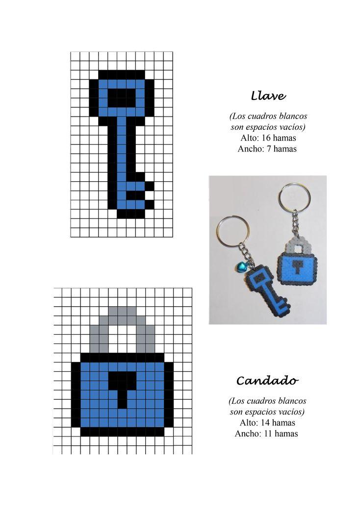 Llave candado key lock hama beads pattern
