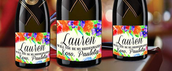Orange Label Mini Champagne BE MY BRIDESMAID by LabelByLoveArts