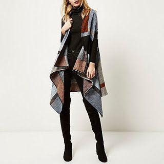 Natasha Sahashi's Style Blog What Makes You Happy ?!  : Blue Block Draped Cape  (International Version)