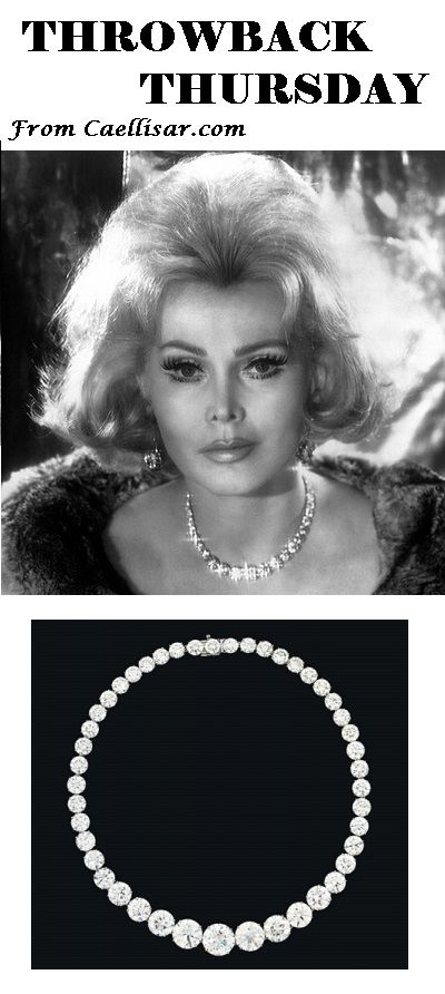* Husbands Are Numerous, Diamonds Are Endless But Zsa Zsa Is Priceless, Dahling.  Her Diamond Riviere Necklace has forty-five graduated round diamonds with an estimated value of $1,983,312 – $3,027,160. @