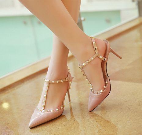 Европа маленький перец чили с пунктом обуви заклепками отметил туфли на высоком каблуке с тонкими оранжевый лакированных супер ботинки высокой пятки в весенне-летний период