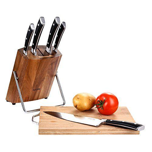 juego cuchillos aicok de acero inoxidable con taco de madera
