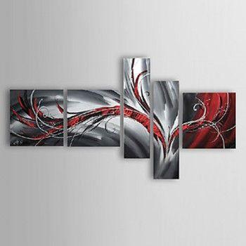 [€ 118.48] peints à la main peinture à l'huile abstraite avec cadre étiré - lot de 5