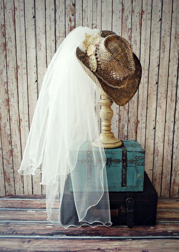 cow-girl chapeau occidental mariage robe accessoires pays mariée chapeau et voile Ivoire bachelorette cowgirl bottes cow-girl Ouest pays de mariage