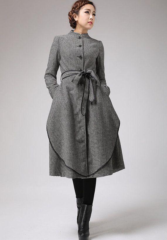 winter jacket wool coat Houndstooth coat woman outwear by xiaolizi, $229.00