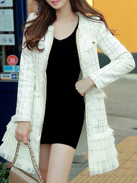 Chain Paneled Ruffle Coat