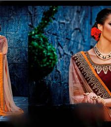Buy Brown stones work net saree with blouse lehenga-saree online