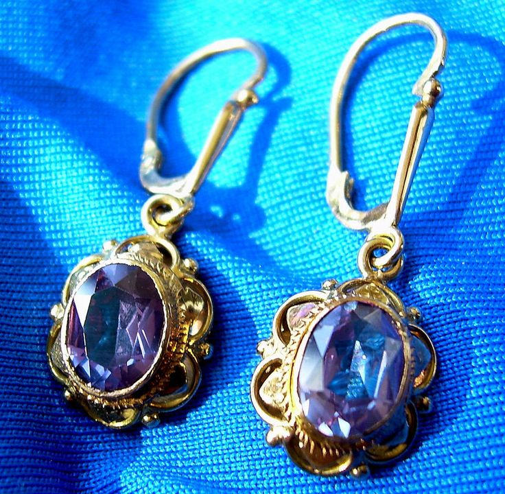 You are looking at striking Art Deco Era earrings featuring a beautiful purple Alexandrite set in a gorgeous 14k gold setting. Because typical for the Art Deco period was likely produced in the 1880s-1930s. | eBay!