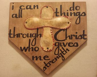 "Wooden home plate with baseball cross and bible verse. Stained 1"" thick birch wood approximately 12""x12"". Hand painted verse of your choice."