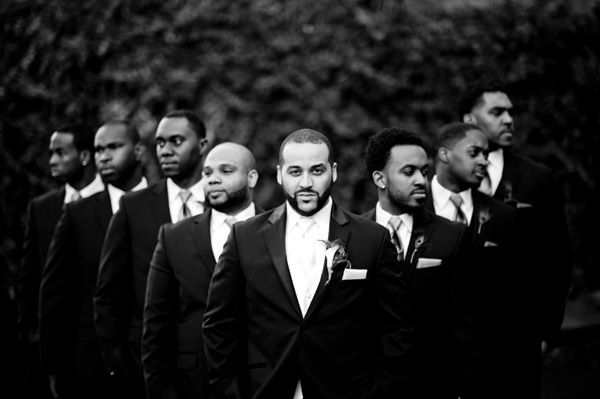 Stylish DIY Long Island Wedding:  - Munaluchi Bridal Magazine #groomsmen #blackandwhite #wedding