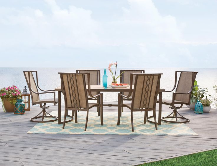 This Eclectic Group Features Sling Dining Chairs And A Dining Table With A  Wood Like Surface. Complete The Look With The Portland Firepit ...