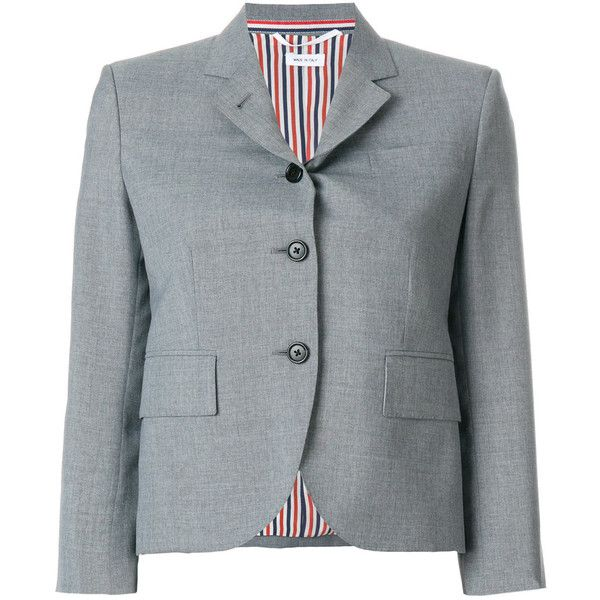 Thom Browne Classic Single Breasted Sport Coat In School Uniform Plain... ($2,115) ❤ liked on Polyvore featuring outerwear, coats, grey, short coat, blazer coat, tailored blazer, grey sport coat and gray sport coat