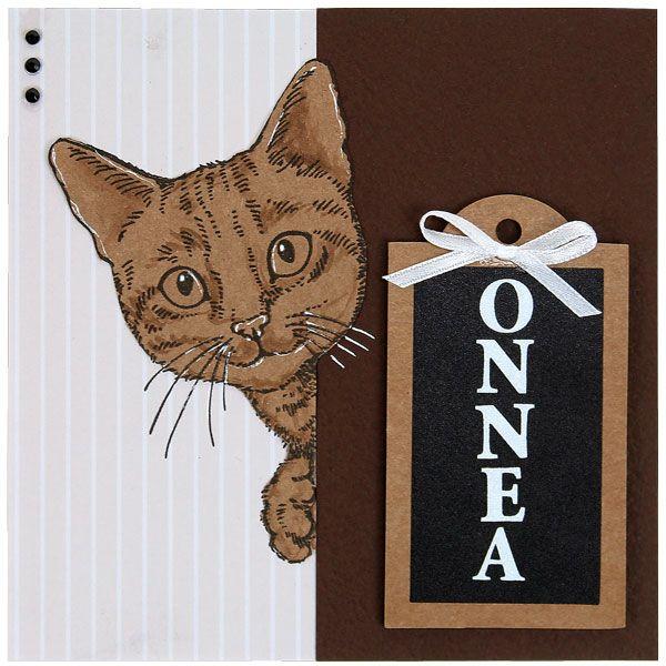 Kissa on tehty leimailemalla Stampendousin laadukkailla leimasimilla. Tarvikkeet ja ideat Sinellistä!